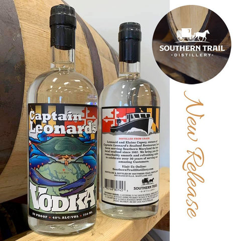 New vodka label design with Maryland Blue Crab theme by Joe Barsin for Southern Trail Distillery