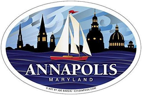 Annapolis Red Sailboat Oval Magnet, 6x4