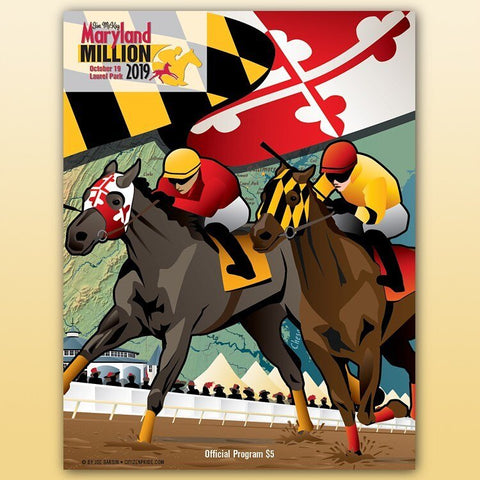 Joe Barsin illustrated the Program cover for the 2019 Maryland Millions Horse Racing Derby Day at Laurel Park.