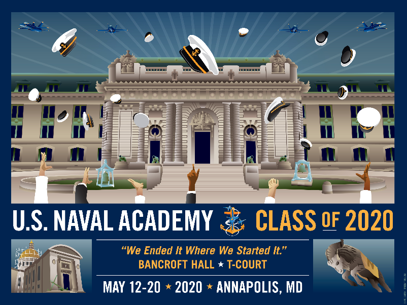 USNA Class of 2020 Bancroft Hall T-Court Celebration with Blue Angels