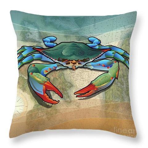 Coastal Blue Crab - Throw Pillow