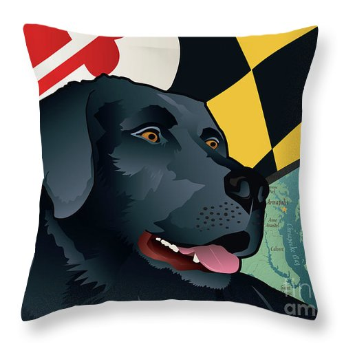 Maryland Black Lab Throw Pillow