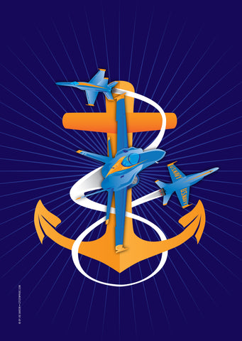 Anchors Aweigh Blue Angels Fouled Anchor Garden Flag, 12x18