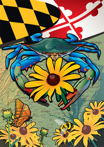 Maryland Blue Crab Black-Eyed Susan Garden Flag by Joe Barsin, 12x18