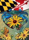 Maryland Blue Crab Black-Eyed Susan House Flag by Joe Barsin, 28x40