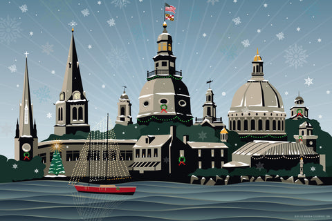 Snowy Annapolis Holiday Art Print by Joe Barsin, 16x12
