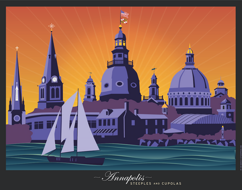 Annapolis Steeples and Cupolas: Sunset Art Print by Joe Barsin, 14x11