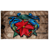 "Coastal Blue Crab Poinsettia Holiday, Large Flag, 60 x 36"" with 2 grommets"