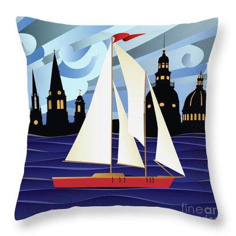 Annapolis Skyline Red Sail Boat - Throw Pillow