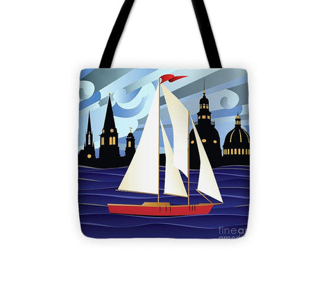 Annapolis Skyline Red Sail Boat - Tote Bag