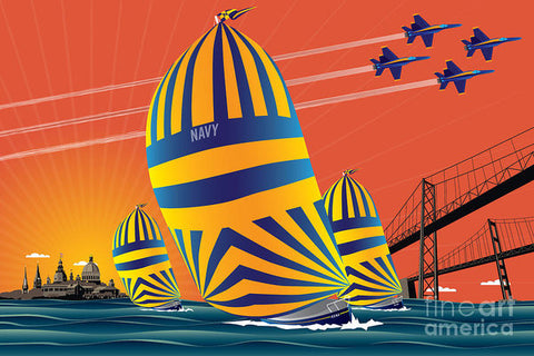 USNA Sunset Sail - Art Print
