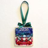 "2020 USA Blue Crab w/ Face Mask, Wooden 3x3"" Holiday Ornament with Green Ribbon"