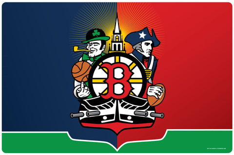 Boston Sports Fan Crest Doormat, 26x18""