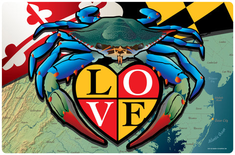 "Maryland Blue Crab ""Love"" Doormat, 26x18"""