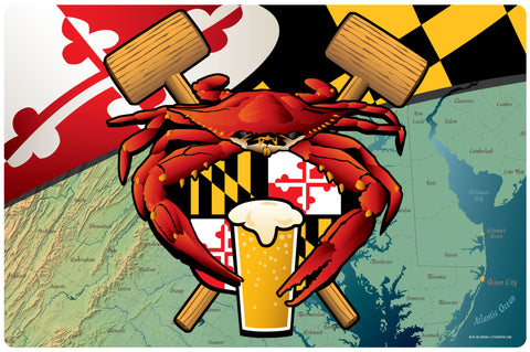 Maryland Crab Feast Crest Doormat, 26x18""