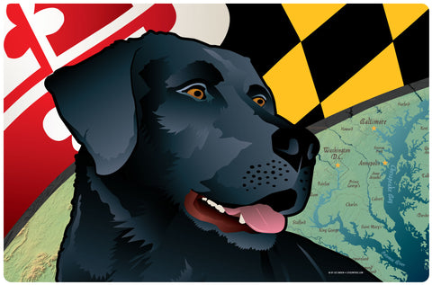 Maryland Black Lab, Doormat, 26x18""