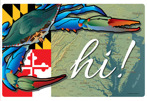 "Maryland Blue Crab ""Hi!"", Doormat, 26x18"""