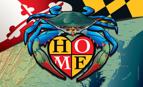 "New! Maryland Blue Crab ""Home"" Door Mat by Joe Barsin, 30x18"