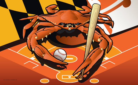 Orioles Sports Crab of Baltimore Door Mat by Joe Barsin, 30x18