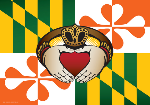 Maryland Irish Claddagh Door Mat by Joe Barsin, 30x18