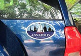 Annapolis Red Sailboat Oval Magnet on car