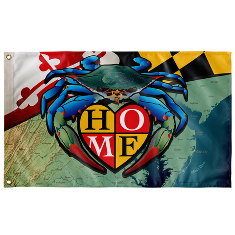 "Maryland Blue Crab ""Home"", Large Flag, 60 x 36"" with 2 grommets"