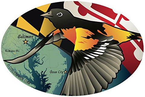 Maryland Oriole Oval Window Decal, 6x4