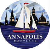 Red Sailboat Annapolis MD Coastal Ornament by Joe Barsin
