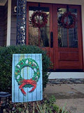 Display of Coastal Holiday Crab Wreath Garden Flag by Joe Barsin