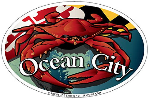 Ocean City Maryland Red Crab Oval Sticker, 6x4