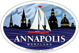 Annapolis Red Sailboat Oval Magnet, 6x3.5