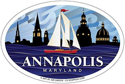 Annapolis Red Sailboat Oval Sticker, 6x4