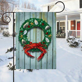 Coastal Holiday Crab Wreath Garden Flag on stand
