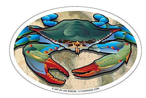 Coastal Blue Crab Oval Sticker, 6x4