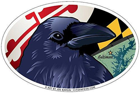 Baltimore Raven Oval Sticker, 6x4