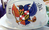 Fan photo on hard hat with Birdland Baltimore Raven and Oriole Maryland Shield Sticker