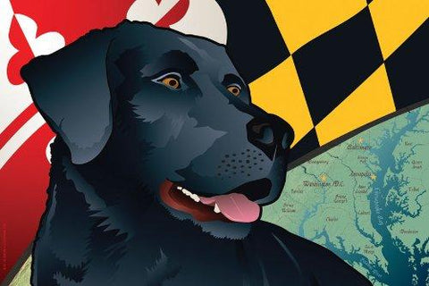 Maryland Black Lab Art Print by Joe Barsin, 16x12