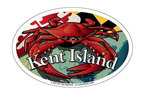 Kent Island Maryland Red Crab Oval Magnet, 6x4