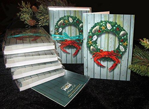 Coastal Holiday Crab Wreath Card Pack of 10, Art by Joe Barsin