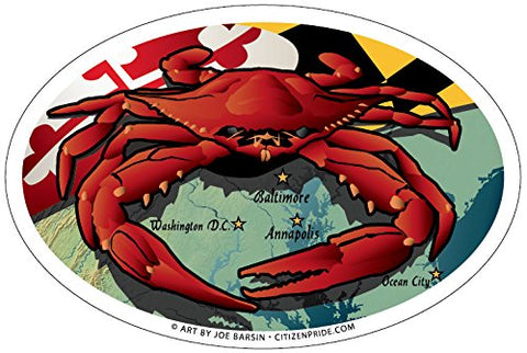 Maryland Red Crab Oval Sticker, 6x4