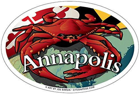 Annapolis Maryland Red Crab Oval Magnet, 6x4