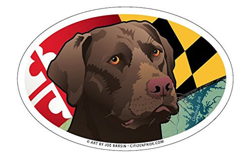 Maryland Chocolate Lab Oval Magnet, 6x4, by Joe Barsin of Citizen Pride