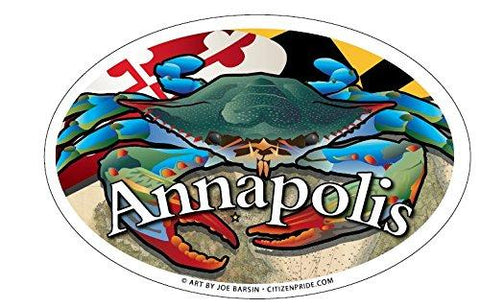 Annapolis Maryland Blue Crab Oval Magnet, 6x4