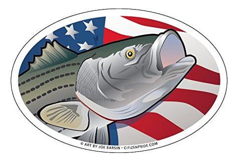 USA Striped Bass Oval Magnet, 6x4