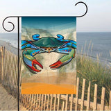 Coastal Blue Crab Garden Flag on stand