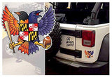 Fan photo on Jeep of Birdland Baltimore Raven and Oriole Maryland Shield Sticker
