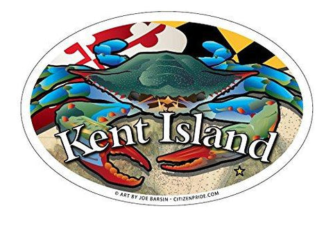 Kent Island Maryland Blue Crab Oval Magnet, 6x4