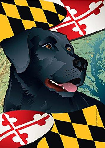 Maryland Black Lab Garden Flag by Joe Barsin, 12x18