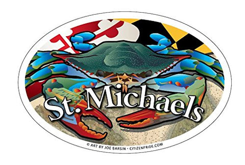St Michaels Maryland Blue Crab Oval Magnet, 6x4