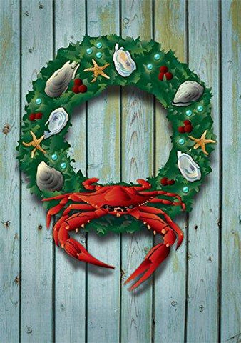 Coastal Holiday Crab Wreath Card by Joe Barsin, 5x7